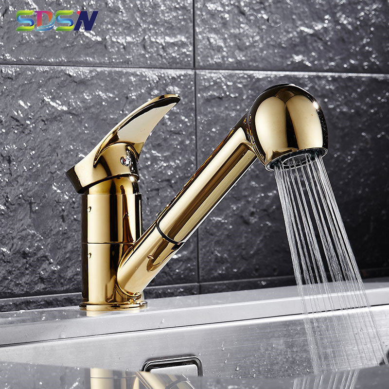 pull out basin faucet sdsn luxury brass bathroom faucet pull down bathroom mixer tap single handle hot cold gold basin faucets