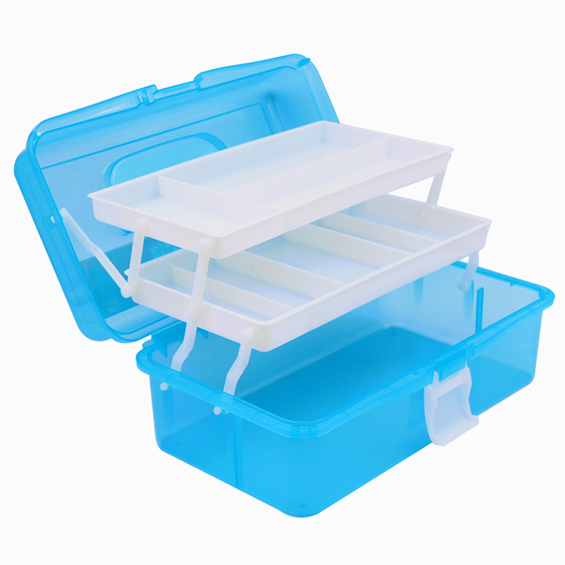 Plastic Three-Layer Storage Box Case Desk Organizer Art Tool Box For Painting Tool Stationery Medicine Nail Art Set Art Supplies