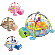Baby 3 in 1 Fitness Frame Game Blanket Multifunctional Cartoon Play Crawling Mat Tortoise Lion Ocean Ball pool 0-18 Months Toy