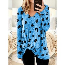 цены на Loozykit Women's Autumn T-shirt V-neck long-sleeved Leopard multi-color Printing long-sleeved Hem Knot Loose Casual T-shirt  в интернет-магазинах