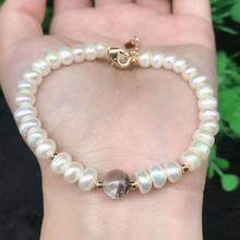 New Natural 5MM Pearls With Fashion 8MM Green Phantom Crystal Ladies Beads Single Circle Bracelet Jewelry Gifts