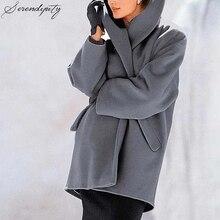 SRDP Shawl Casual Grey Wool Blend Coats Women Warm Autumn Wi