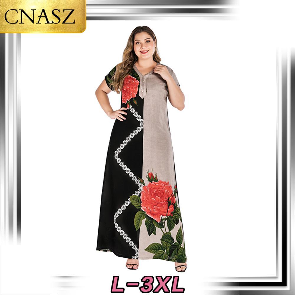 2019 New Fashion Muslim Dress Abaya Islamic Print Short-Sleeved Dress Large Size Women's Dress Moroccan Caftan Turkey Clothing