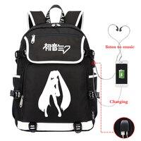 Mochila Anime Hatsune Miku Backpack Women Backpack USB Charge Travel Backpack Laptop Backpack School Bags for Teenage Girls Boy