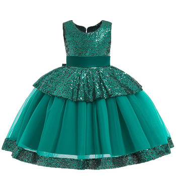 2020 Summer New Princess Flower Girls Wedding Dress Children Easter Dress Kids Girls Birthday Party Sleeveless Pink Green Dress 1