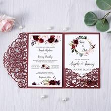 Wedding-Cards Envelope Pocket Flower Laser-Cut Glitter Shining-Invitation Burgundy-Color