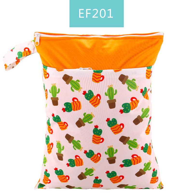 Hylidge Print wodoodporna podwójna kieszeń mokra sucha torba na pieluchy wielokrotnego użytku przekąska płócienna torba uchwyt worki mokre 30*40CM tkaniny Sandwich torby