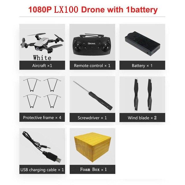 LAUMOX LX100 Радиоуправляемый Дрон с 4 K/1080 P HD камерой оптическое позиционирование потока wifi FPV складной Квадрокоптер вертолет дроны следуем за мной - Цвет: 1080P 1B FB W