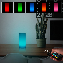 Cylinder LED Night Light Rechargeable 5W 16 Colors Dimmable RGB Remote Control Desk Lamp Mood Outdoor Garden Creative LED Light usb rechargeable rgb egg led night light outdoor desk multicolor pub club ktv atmosphere lamp light with remote controller