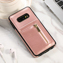 Zipper carteira nova de couro TPU soft case para SAMSUNG Galaxy S7 S7Edge S8 S8 Plus S9 S9 Plus S10 S10E s10 Plus Note8 Note9 caso.(China)