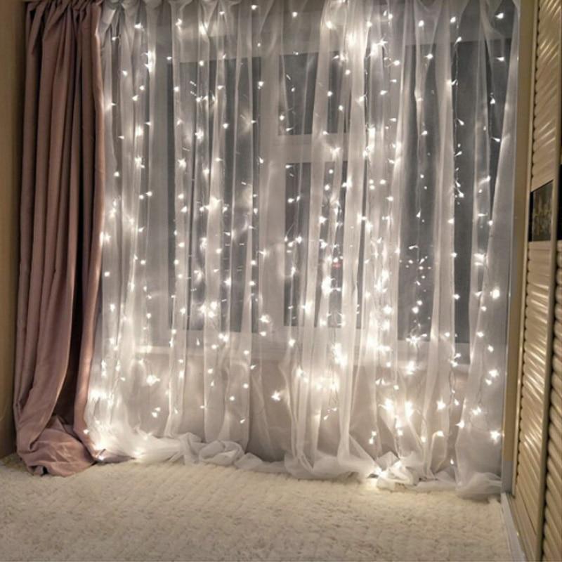 ผ้าม่านไฟ LED String Fairy ICICLE EU หรือแบตเตอรี่คริสต์มาส Garland งานแต่งงาน Patio หน้าต่างกลางแจ้ง String Light ตกแต่ง