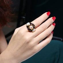 Популярный милый жемчуг кольцо черного и золотого цвета с фиолетовым
