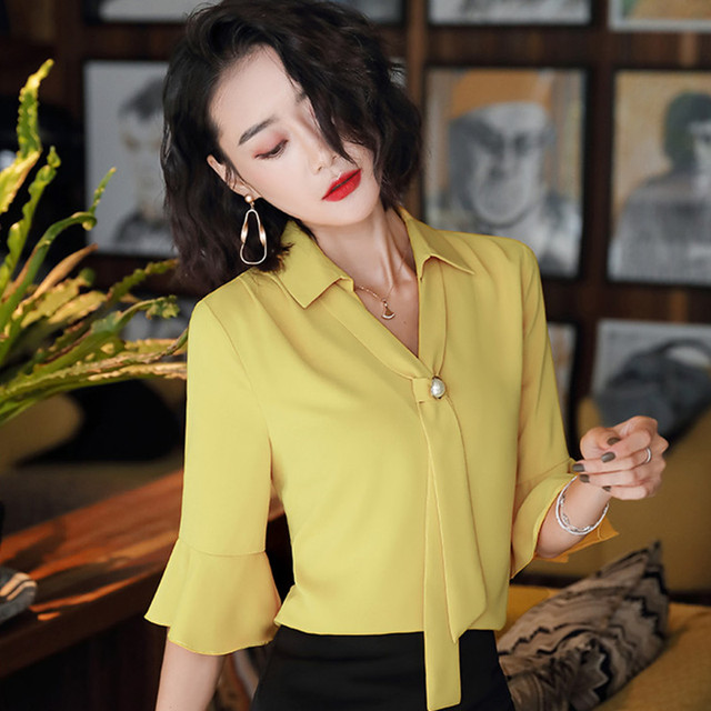 Korean Silk Women Blouses Woman Satin Blouse Tops Plus Size Blusas Mujer De Moda 2020 Women V Neck Soild Shirt Top Camisas Mujer 2