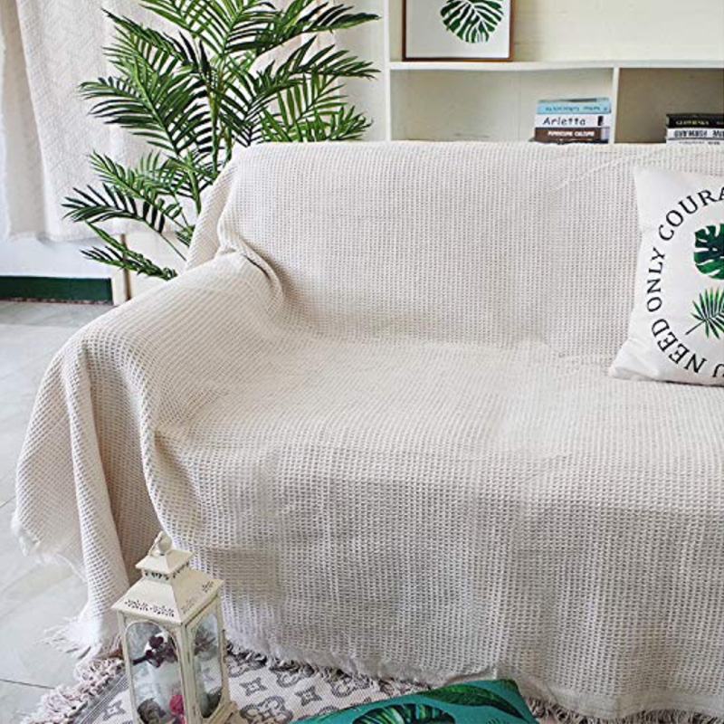 2019 Nordic Light Beige Woven Sofa Covers Blanket Plaids Cotton/Polyester Quilting Sofa Blanket Towel Slipcovers Protect Cover