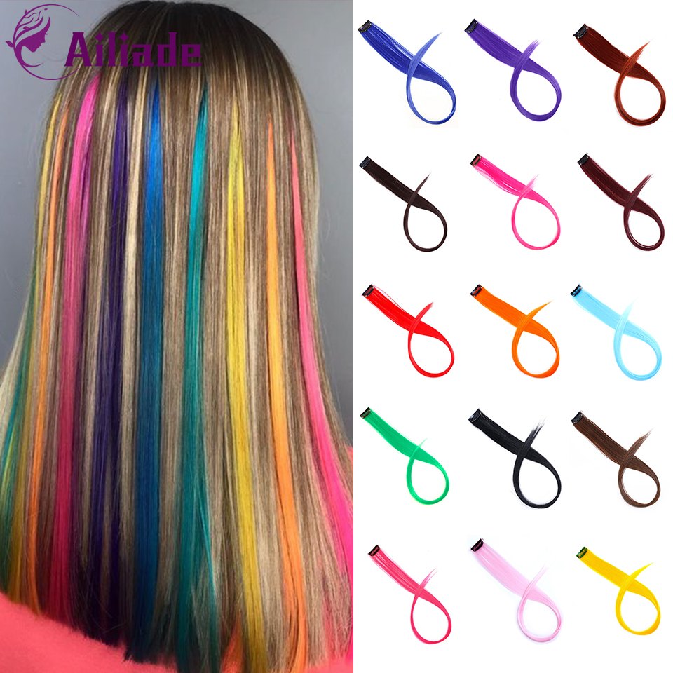 AILIADE Long Colored 1 Clip In Hair Extensions Hairpieces Heat Resistant Synthetic Fake Hair Purple Pink Blue Rainbow Colorful
