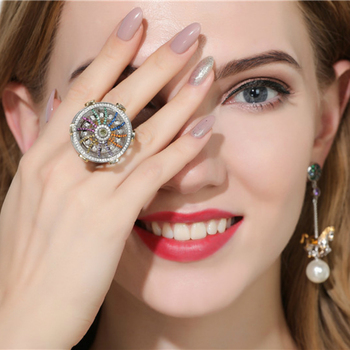 Dazz S925 Silver Rings luxury Carousel Hand-Inlaid Zircon Ring Cute Romantic Women Girl Party holiday Accessories Best Gift 2019