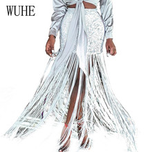 WUHE Sexy Women Sequins Long Tassel Skirts Ladies Sparkly High Waist Bag Hip Dancer Skirt Female Irregular Latin Dance