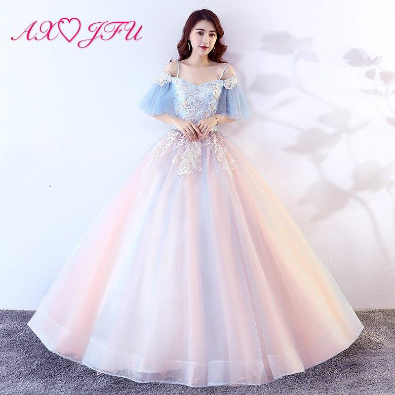AXJFU princesse bleu et rose dentelle mariée robe de soirée vintage bateau cou robe de bal scène hôte volants fleur robe de soirée