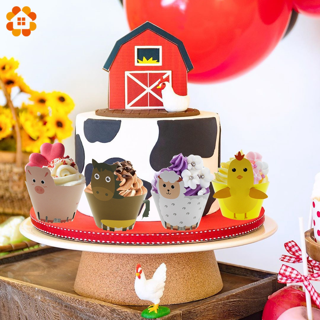 12Pcs Kids Birthday Party Decoration Farmer Farm Party Cupcake Wrappers Farm Animals Chicken Horse Sheep Pig Cake Topper For