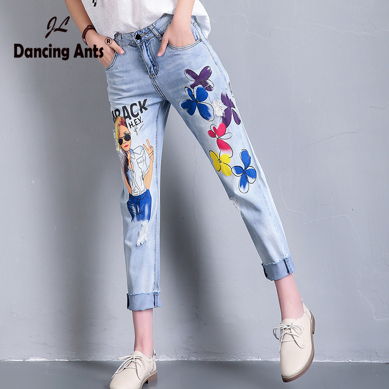 Woman Jeans High Waist Loose Harem Pants European Style Printed Cuffs Hole Pockets Casual Female Ankle-length Pants 2020 Fashion