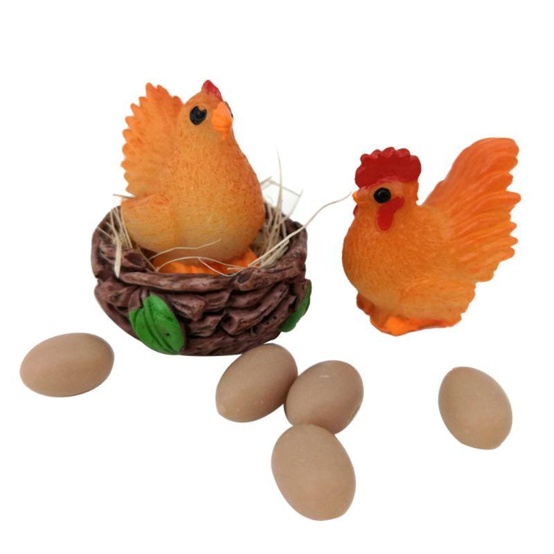 Mini Dollhouse Decor Scale 1: 12 Cock Hen Egg Nest Set Doll House Chicken Miniature Children Gift Pretend Play Toy