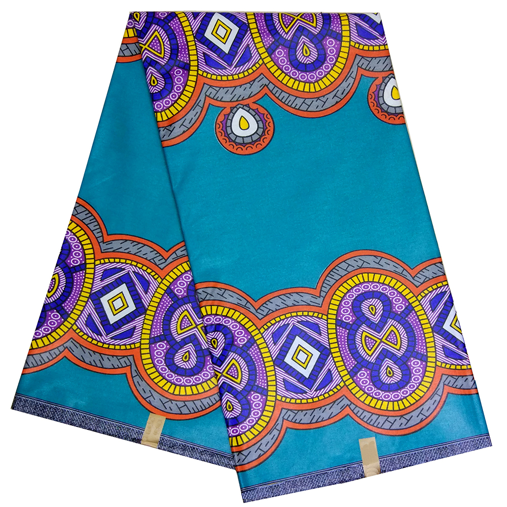 African Fabric African Real Dutch Wax New Design 2019 Veritable Wax Print Sky-Blue Color Fabric 6 Yards