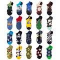 Носки-невидимки хлопковые для мужчин и женщин, смешные носки с принтом животных, фруктов, Летние Симпатичные Короткие тапочки, 5 пар