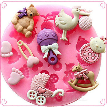 TTLIFE Baby Shower Party 3D Silicone Fondant Mold For Cake Decorating silicone mold sugar craft Moulds Tools
