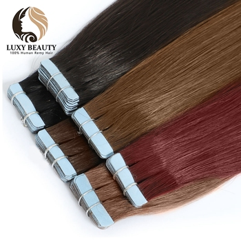 Luxy Beauty Tape In Hair Extensions Human Remy Hair Straight Double Sided Skin Weft tape in Hair extension  14 - 22 wig 14 color tape in hair extensions human hair machine remy pu skin weft color 14 24 inch straight tape hair extensions human hair