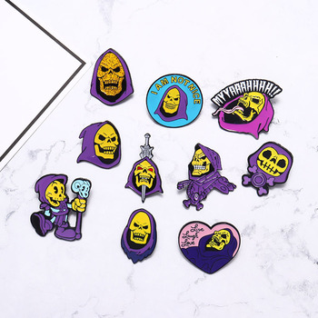 Skeletor purple hood Enamel Pin Masters of the Universe Badge Brooches Bag Clothes Lapel pin Classic Cartoon Jewelry image