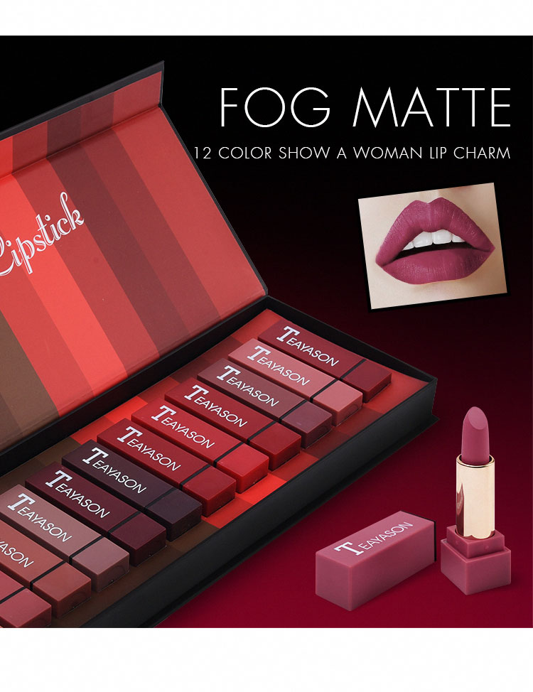 TEAYASON New Set Of 12-color Square Tube Sexy Red Lipstick Matte Lipstick Pumpkin Color Matte Color Dirty Orange