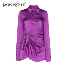 TWOTWINSTYLE Solid Ruched Shirt For Women Lapel Long Sleeve Lace Up Bowknot Minimalist Blouse Female Fashion New Clothing 2021