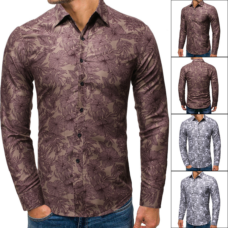 2019 Autumn Men's Wear Printing Lapel Man Long Sleeve Shirt Cs65