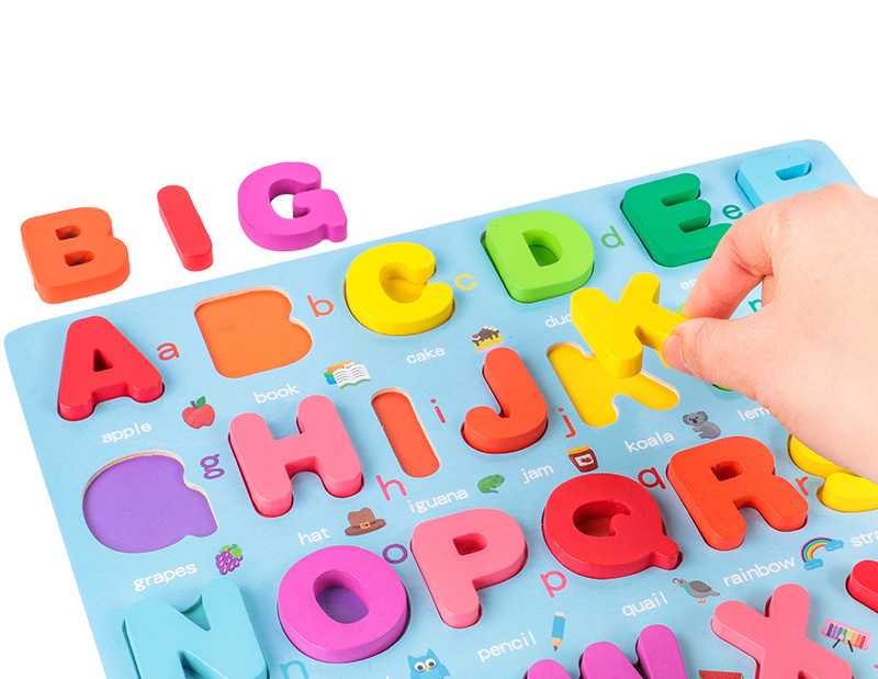 Kids 3D Wooden Puzzle Toys Colorful Number Letter Geometry Shape Cognition Grasp Board Early Learning Educational Montessori Toy 5
