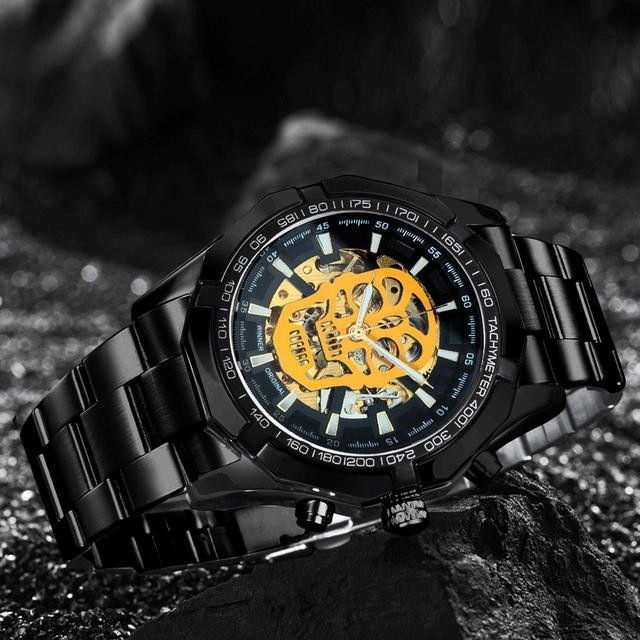 WINNER Official Automatic GOLD Watch Men Steel Strap Skeleton Mechanical Skull Watches Top Brand Luxury Dropshipping Wholesale 4
