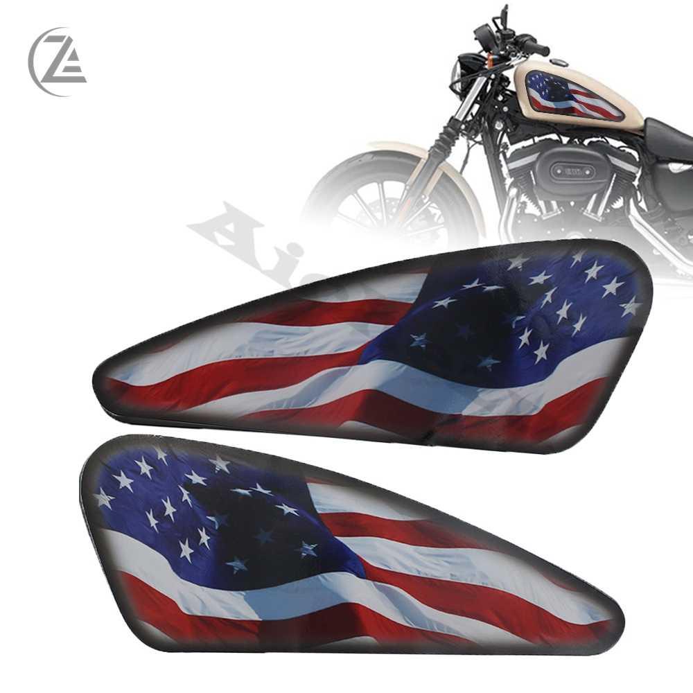 Acz オートバイ燃料タンクデカール 3D harley sportster xl 883 1200 48 72 カフェレーサーストリートトラッカー浮きスクランチョップ