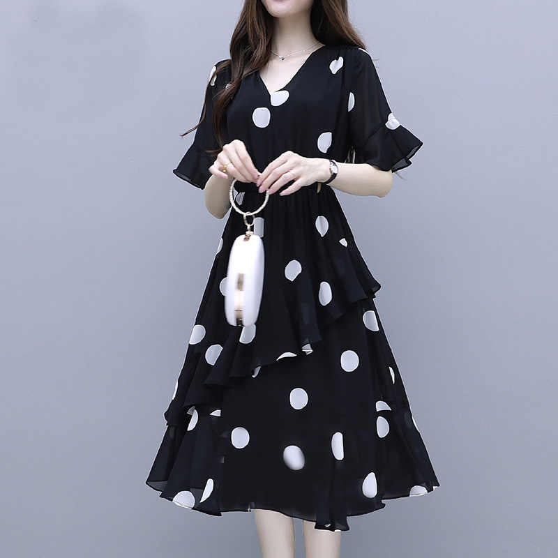 Koreaanse Jurk Voor Vrouwen 2020 Zomer Elegante Vintage Chiffon Casual Kawaii Midi Jurk Vrouw Dames Kantoor Party Night Wit Zwart