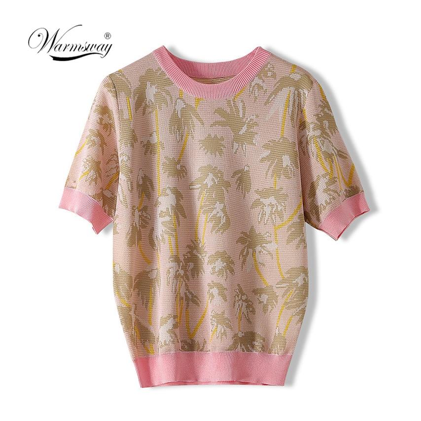 Boho Summer Fashion Vintage Chic Women Coconut Tree Jacquard Short Sleeve T-shirt Ladies Tops Viscose Knit Tee Shirt CY-099