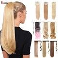 Leeons 20 ''синтетические волосы для конского хвоста, термостойкие волоконные прямые ленты для наращивания волос, 21 цвет, коричневый, черный