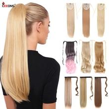 Leeons 20 ''Synthetische Paardenstaart Haarstukken Hittebestendige Vezel Rechte Lint Clip In Hair Extensions 21 Kleuren Bruin Zwart