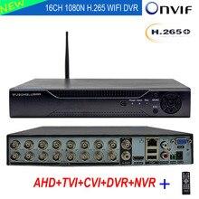 Grabador de vídeo híbrido 6 en 1 para cámara IP TVI CVI CVBS AHD 1080P 5MP 16CH 1080N DVR NVR H.265 + Compatible con Wifi 3G PPPOE 16 canales