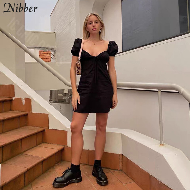 Nibber kpop puff sleeve sexy low collar slim black dresses woman elegant simple high street female fashion party club mini dress 4