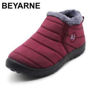 BEYARNE2019 buty zimowe dla kobiet wodoodporne buty śniegowe dla kobiet dorywczo buty zimowe botki dla kobiet SizeE1002 tanie i dobre opinie Wiskoza ANKLE Szycia Stałe Dla dorosłych Kliny Buty śniegu Krótki pluszowe Okrągły nosek Zima Mieszkanie (≤1cm)