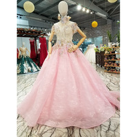 BGW 3118ht Cheap Pink Gown Girl Mesh Flower Party Dress With Crystal Collar Chain Off Shoulder Sweetheart Women Occasion Dresses