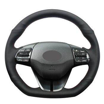 Hand-stitched Black Genuine Leather Anti-slip Car Steering Wheel Cover for Hyundai Elantra 4 2016 2017 2018 2019 Ioniq 2017 2018