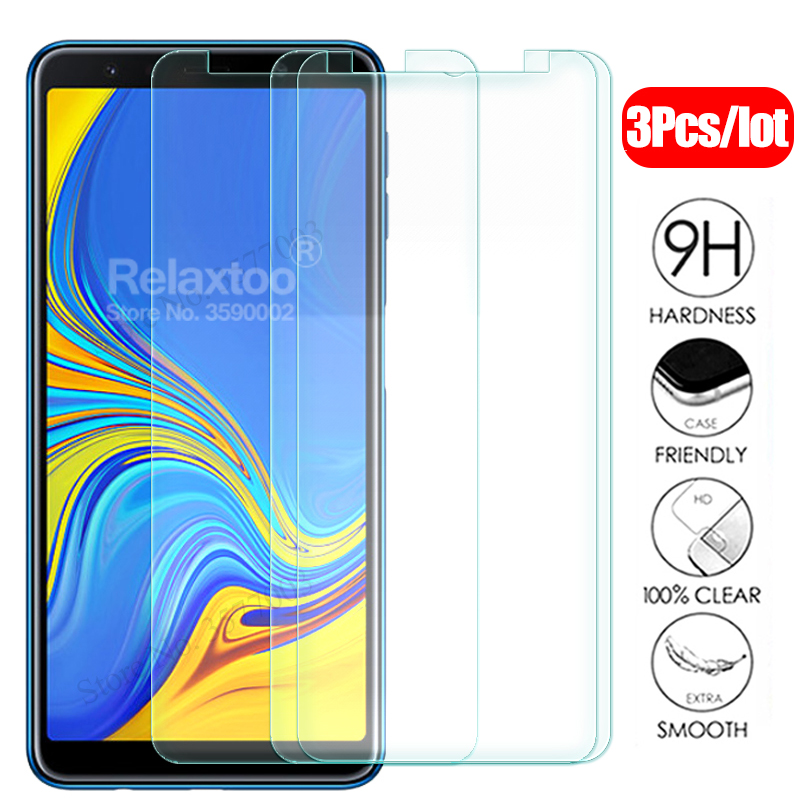 3pcs protective <font><b>Glass</b></font> For <font><b>samsung</b></font> j4 j6 a6 a8 plus a7 a5 2018 tempered glas on the sumsung j 4 6 <font><b>a</b></font> <font><b>7</b></font> 8 4j 6j 6a 7a safety Film image