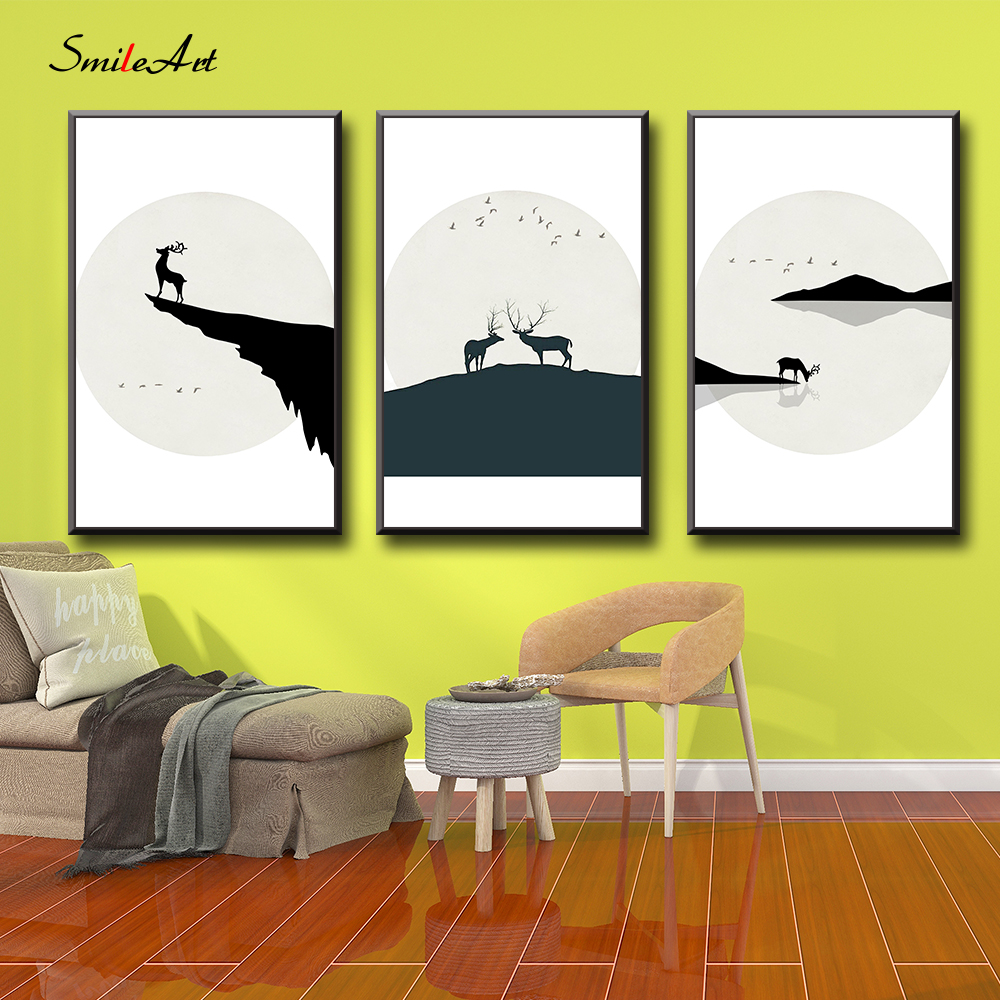 The Nordic elk Painting  Animal Poster Nursery Wall Art Kids Decoration Pictures