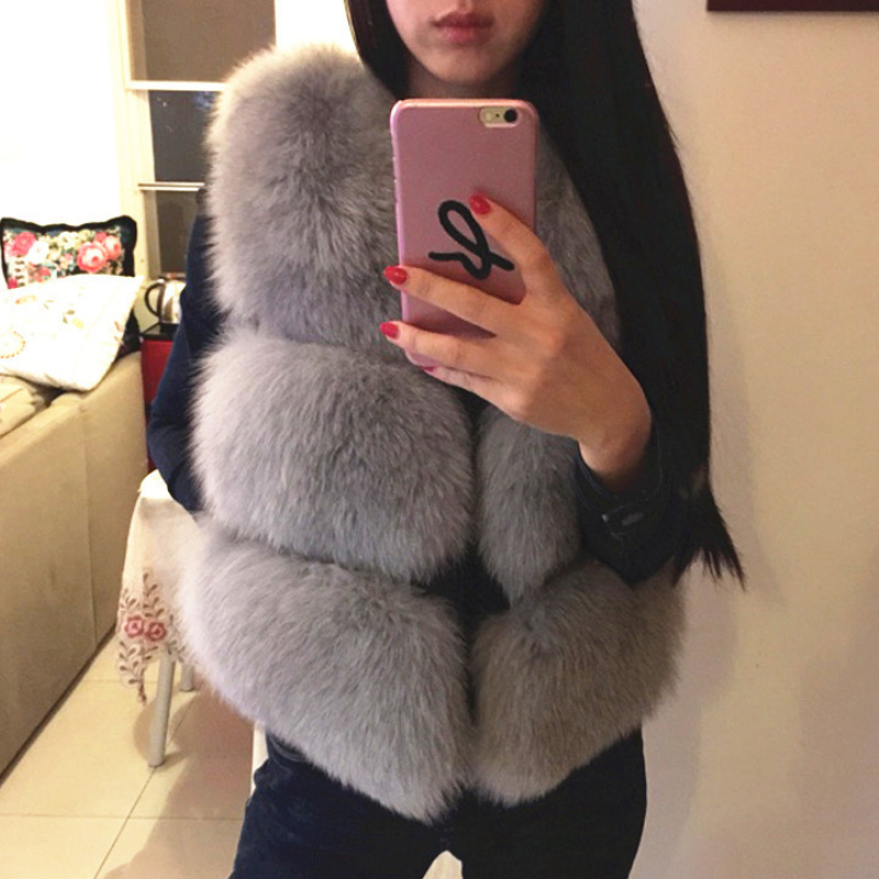 2019 New Faux Sliver Fox Fur Vest Women Winter Fashion Artifical Fox Fur Vests Woman Warm Fake Fox Fur Coats Female Ladies