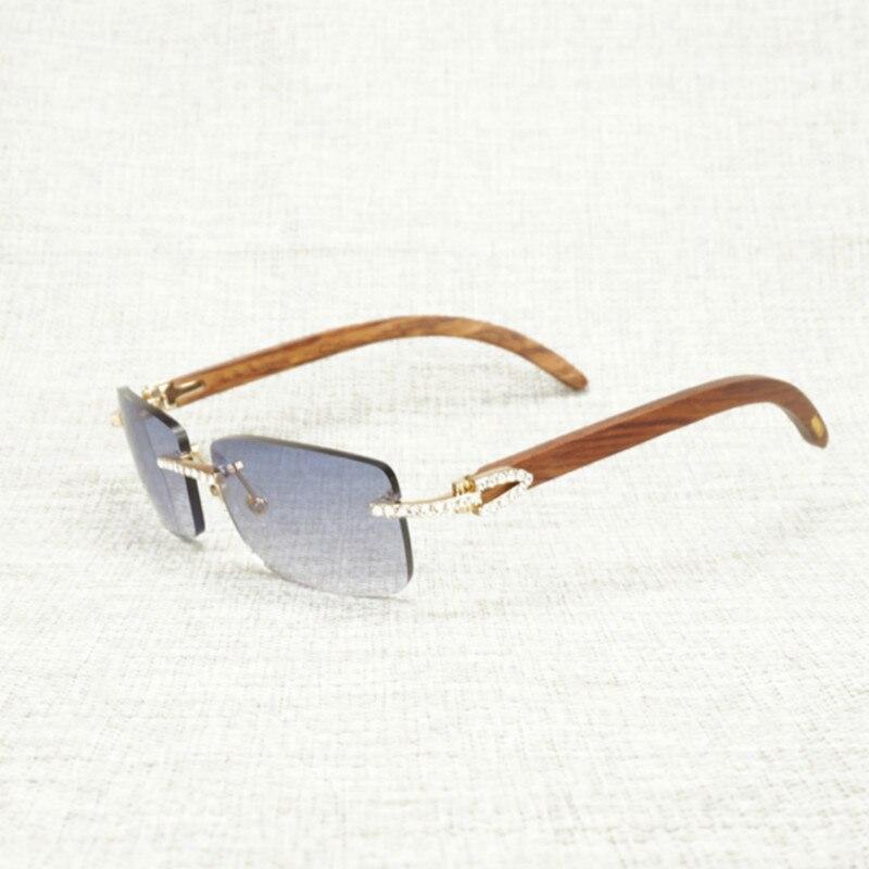 Vintage Rhinestone Black White Buffalo Horn Rimless Sunglasses Men Wood Sun Glasses Metal Frame Shades for Outdoor Club Eyewear