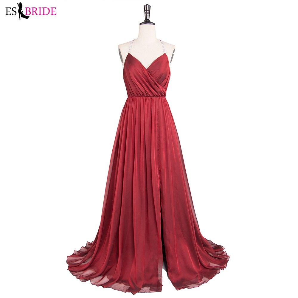A line burgundy Tulle long dresses evening formal dress women elegant side slit evening gown Prom party dress vestidos de fiesta